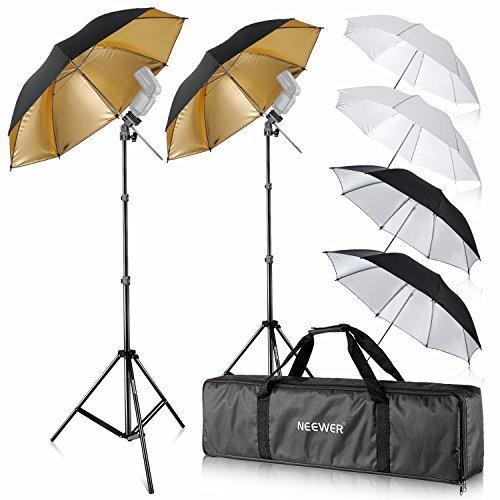 Fotografie-studio-kit (Neewer Foto Studio 2X DREI Regenschirme Kit 84cm Weisser Weicher Schirm + 84cm Silberner Reflektorschirm + 96, 5 cm Goldener Reflektierender Schirm für Portrait und Video Aufnahme)