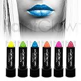 paintglow UV Neon Glitzer Lippenstift (6Pack) Fancy Kleid Make-up Glitzer Lippen