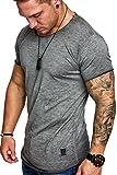 Amaci&Sons Oversize Herren Vintage T-Shirt Verwaschen Crew Neck Rundhals Basic Shirt 6033 Anthrazit S