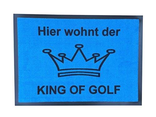CEBEGO,Golf Fußmatte King of Golf, Fußabstreifer Herren blau mit Krone