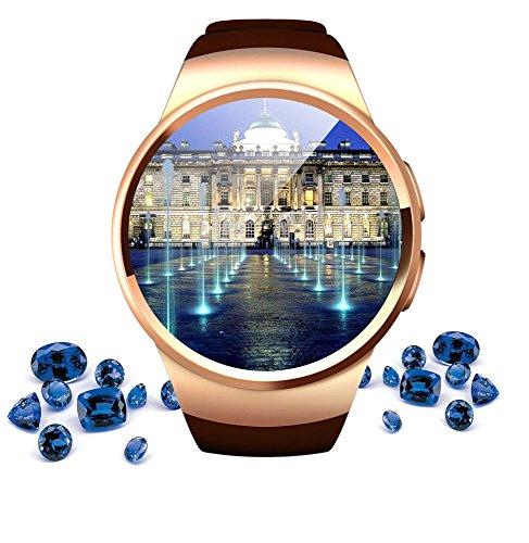 QSM Runde Intelligente Uhr, Schritt-Für-Schritt-Anti-Verlorene Uhr, Sesshafte Erinnerung Smartphone-Uhr, Dauerhafte Abnutzung,Gold,A Mobile Schritt