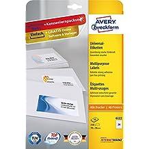 Avery Zweckform 6122 Adressetiketten (A4, Papier matt, 240 Etiketten, 70 x 36 mm) 10 Blatt weiß