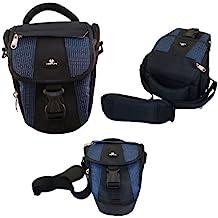Case4Life Negro / Azul Funda Bolsa para cámaras réflex para Canon EOS inc 1300D, 1200D, 100D, 1100D, 80D, 700D, 750D, 760D, 70D, 600D, 500D, 5D, 5DS, 400D, 6D, 650D, 1000D, M3, M5