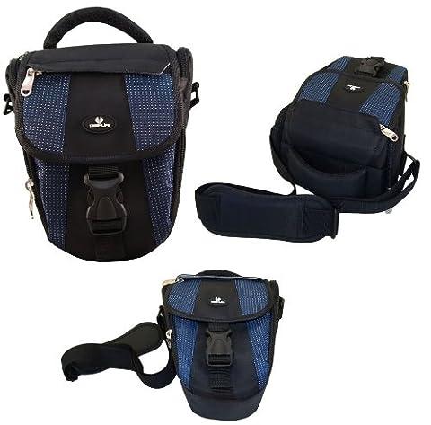 Case4Life Noir / Bleu Zoom Nylon SLR reflex photo numérique étui sac pour Panasonic Lumix G70, G80, G85, DMC-GH4, DMC-GH5 FZ62, FZ72, FZ200, DMC-FZ72EB-K, DMC-FZ300, FZ1000EB, FX2000, FZ2500