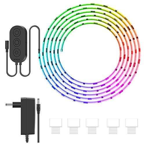 MINGER DreamColor LED Streifen mit eingebautem IC, 5m RGB LED Strips Sync mit Musik, wasserdichte LED Kette mit APP, 150 LEDs SMD 5050 flexibler LED Schlauch mit Netzteil für Deko Party Weihnachten (Smartphone-wasserdicht Schützende)