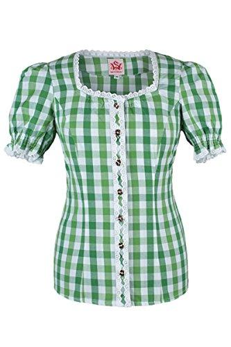 Damen Spieth & Wensky Trachten Miederbluse weiß-grün kariert 'Hermine', weiß-grün, Weiß-Grün
