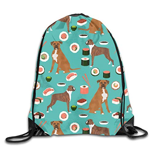 Drawstring Backpack Bags Boxer Dog Sushi Themed Dogs Turquoise Sport Athletic Gym Sackpack for Men Women
