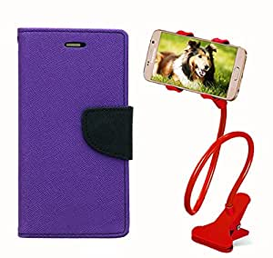Aart Fancy Diary Card Wallet Flip Case Back Cover For Nokia 520 - (Purple) + 360 Rotating Bed Tablet Moblie Phone Holder Universal Car Holder Stand Lazy Bed Desktop for by Aart store.