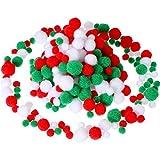 Sumind 300 Piezas de Pompones Variados Bolas de Pom Mullidas Pompones de Manualidades Pequeños para DIY y Decoraciones, 3 Tamaños (Conjunto de Color Navideño)