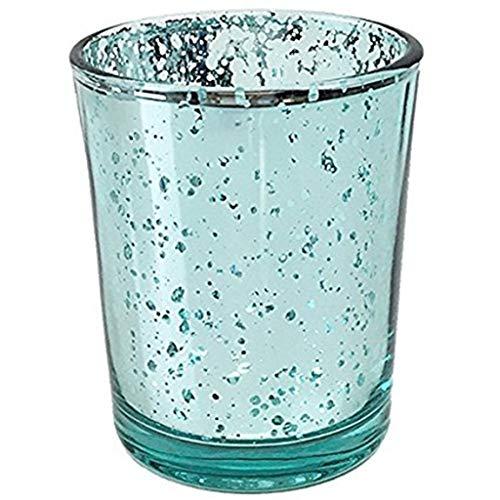 TianranRT Quecksilber Glas Votiv Teelicht Kerze Halter für Hochzeiten Partys und Home Dekor (Blau)