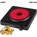 Placa de infrarroja | 1250 W | superficie de cocción 19 cm | apta para cualquier batería de cocina | 300°C en 30 segundos | Placa de cocción individual | Placa de cocción móvil | para camping | negra