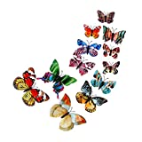 Toamen 12x 3D Luminous Butterfly Wall Sticker Fridge Magnet Room Decor Decal Applique (Double layer)