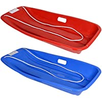 AMOS Large Plastic Sledge with Rope Kids Adults Toboggan Sled Winter Snow Luge