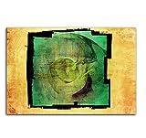 Moment der Hoffnung - Bild auf Leinwand Abstrakt383_100x70cm Bild auf Leinwand grün gelb-braun Abstraktes Motiv einteiliges Dekobild Kunstdruck auf Keilrahmen