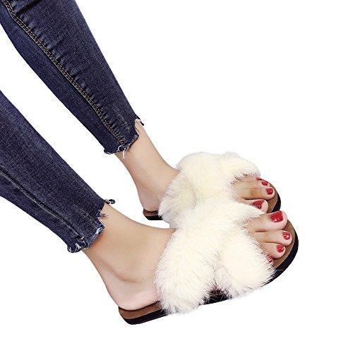 Scarpe Estive Donna,Scarpe Eleganti,Scarpe Sneaker,Scarpe Sportive,Yanhoo®Donna Moda Hairball Al Coperto Outdoor Tacco Piatto Sandali Pantofola Scarpe Da Spiaggia (38=Asia 39, Beige)
