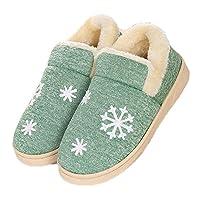 JadeRich Snow Printing Solid Fleece Warm Indoor Boot Slippers