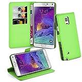Cadorabo Hülle kompatibel mit Samsung Galaxy Note 4 Hülle in MINZ GRÜN Handyhülle mit Kartenfach und Standfunktion Schutzhülle Etui Tasche