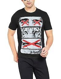Maniac Mens Printed Half Sleeve Round Neck Tshirt