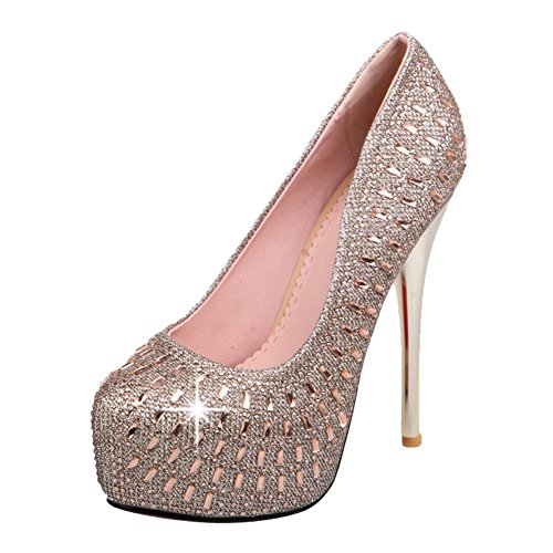 Mee Shoes Damen high heels runde Plateau Geschlossen Pumps Gold