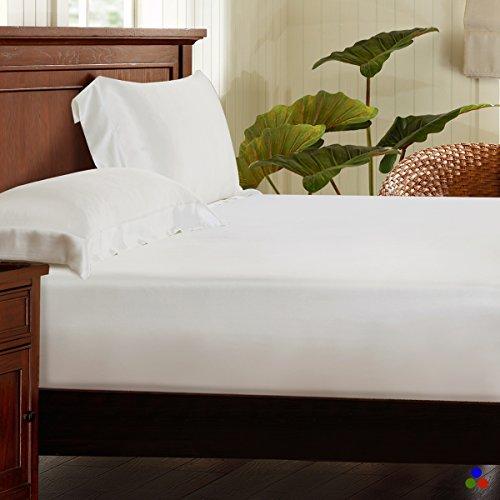 ElleSilk 100% Seiden Bettlaken-Set 3-Teiliges, Seide Spannbetttuch (200 x 200 x 30cm) und Seide Kopfkissenbezüge (50 x 75cm) für Ganzjähre, 25 Momme, Super Weich und Komfortabel, Elfenbein