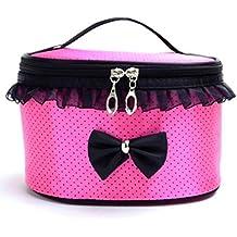 cosmético Bolso Switchali Portátil de viaje Toiletry Maquillaje linda moda Corbata de moño encaje Cosméticos bolso organizador titular bolso (Rosa Fuerte)