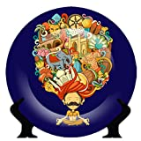 #7: Blazejets Rare Handcrafted Blue Abstract Design Ceramic Decorative Plate/Platter with Stand