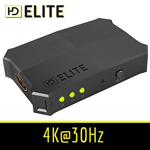 HDElite - Switch HDMI - 3D Ready / Full HD 1080p (flessibile) - commutatore 3 Port | 3 x IN / 1 x OUT | Dolby True HD | Switch intelligente - commutazione automatica e manuale