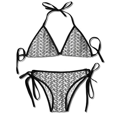 Swimsuit Athletic Women Striped Elements Geometric Printing Bikini for Women - Athletic Striped Wrap