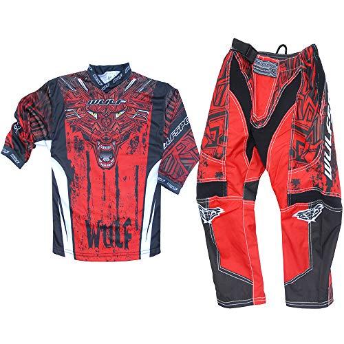 WULFSPORT AZTEC MX Bambini Tuta Moto Pantaloni e Maglia Bambini Moto Scooter ATV Quad Motocross vestito de capretti (8-10 anni, Rosso)
