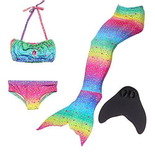 WhiFan 4pcs Mädchen Meerjungfrau Shell Badeanzug Bikini Sets Meerjungfrauenschwanz mit Meerjungfrau Flosse Schwimmen Kostüm ()