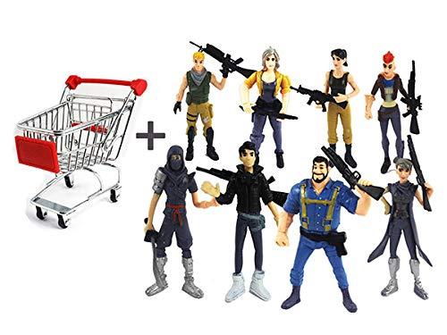 Cartoon Fortnite PVC Action Figure Spielzeug Spiel Zeichen Puppen Geschenk 8 stücke Festung Nacht + Warenkorb Set (Battle Royal Ps3)