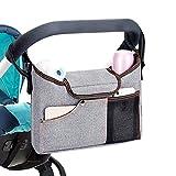 KOBWA Baby Jogger Kinderwagen-Tasche, mit Getränkehalter und, Universal, inkl. Schultergurt, extra Stauraum für, Baby-Accessoires und ihr Handy