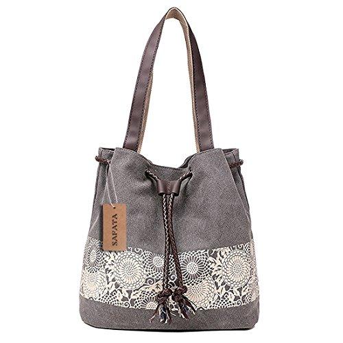 SAFATA Damen Handtasche Canvas Schultertasche Umhängetasche Damen Shopper Tasche Schöne Vintage Henkeltasche Beuteltasche (Grau)