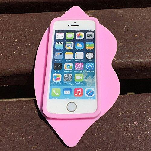 iPhone 4 Custodia, Hamyi iPhone 4S Cover Morbida Silicone Motivo Moda 3D Sexy Lips Labbra Protettiva Case per Apple iPhone 4/4S(Verde) Rosa