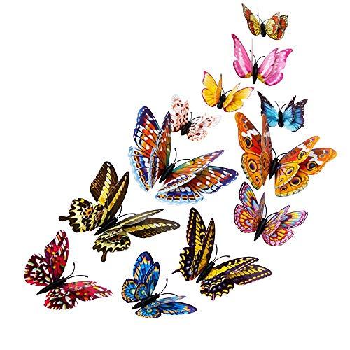 Zleimjab Haushalt 12 STÜCKE Multi Farben 3D Schmetterling Wandaufkleber Abziehbilder Glow in Dark Butterfly Magnets Durable Kunststoff Schmetterling Dekorationen Wanddekor