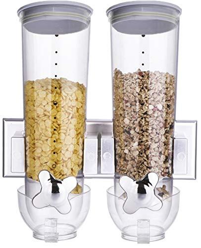 Bada Bing Doppelter Cerealinenspender Müslispender Spender Für Müsli Cerealien Cornflakes Vorratsdose Aufbewahrung Ca. 3 Liter Fassungsvermögen Für Die Wandmontage Rund 16