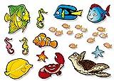 23tlg. Unterwasserwelt Fische und Meer 3D Effekt Wandschild / Ozean / Wanddeko / Wandbild / Kinderzimmer / Babyzimmer / Dekoration / kein Aufkleber oder Sticker / kein Hämmer oder Bohren