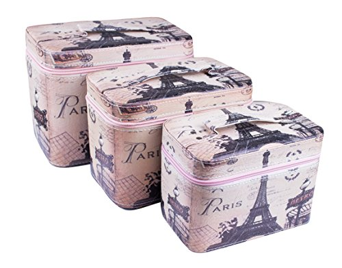 Valise Beauty Case Vintage Style Shabby Chic Bijoux coffres schmuckk ? stchen Mallette à maquillage Trousse, Set de 3 pièces. (25 x 16 x 19,5/22,5 x 14,5 x 16,5/20 x 12,5 x 14,5 cm), Eiffel (Multicolore) - 4251047811081