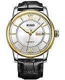 Burei® - Orologio automatico, giorno e data, cinturino in pelle di vitello nero, lunetta argento e quadrante nero