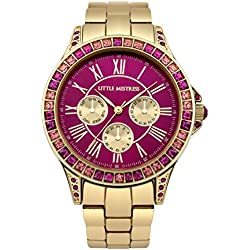 Little Mistress Women's Quartz Watch with Pink Dial Analogue Display and Gold Bracelet LM003