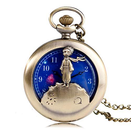 (Little Prince Design Taschenuhr Quarz Taschenuhr für Herren Blau Planet Zifferblatt Halskette Taschenuhr Geschenk)