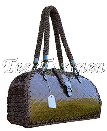 Braun Lack Schultertasche Gesteppte HandtascheUnikat schokoladenbraune gestrickte Tasche in einer einzigen Kopie -