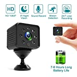 Spy Camera Hidden Mini Small Full HD 1080P Camera, 7-8 Hours Long-time Video Recording, Auto IR Night Vision, Motion Detection Security Surveillance Camera Built-in Battery for Nanny