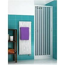 Mampara de ducha con puerta plegable de PVC reversible y adaptable