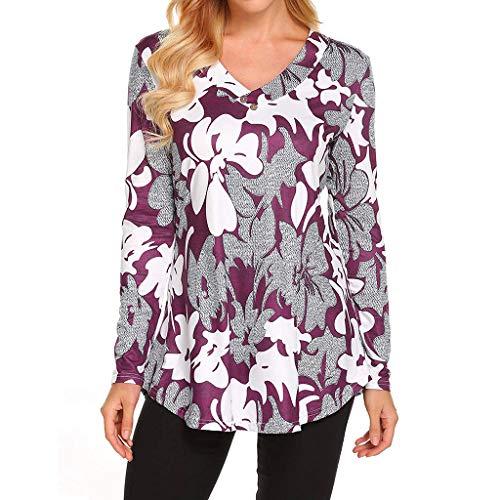 Gaddrt Langärmliges Damen Blumendruck V-Ausschnitt Hemd Lässige Tunika Blusen Tops (S, Purple)
