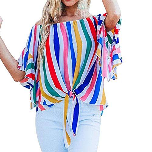 Women Striped Off Shoulder Waist Tie Blouse Short Sleeve Casual T Shirts Tops