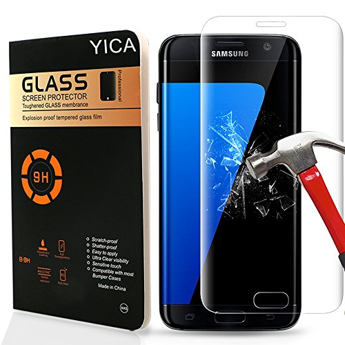 Price comparison product image Samsung S7 Screen Protector, Yica Samsung Galaxy S7 Clear Tempered Glass [Full Screen Coverage] Design Screen Protector for Samsung Galaxy S7