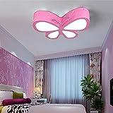 Habitación de los Niños Lámpara de techo dormitorio lámpara LED 24W Modern Caricatura Metal creativo plafón personalidad mariposa iluminación masculinos niña habitaciones