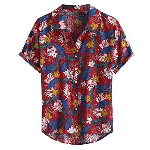 Hawaiihemd | Herren | Kurzarm | Front-Tasche | Hawaii-Print | Bierflaschen Party Blumen Hawaii Hemd Verschiedene Designs -