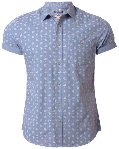 Threadbare Paisley Muster Herren Hemd Kurzarm Baumwolle KMT 011, Blau, Gr. M (Hemden Paisley Kurzarm)